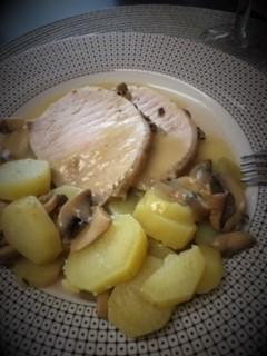 Roti de porc aux champignons à la moutarde sauce au gingembre