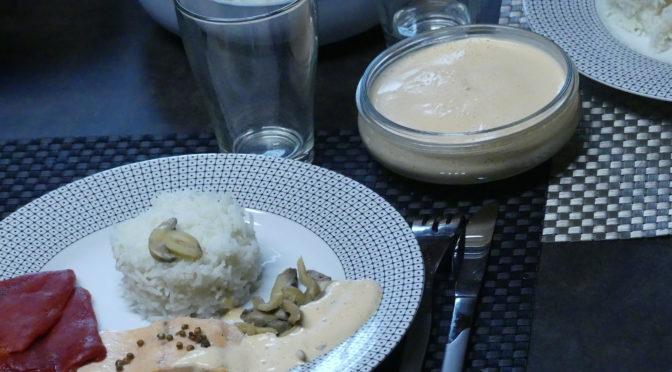 Recette à étages : filets de truite, riz champignons et émulsion de poivron au Thermomix (sans gluten lait possible)