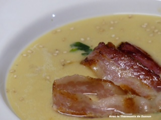 Crème de pois chiches au lard recette cookidoo Thermomix tm6 tm5 tm31