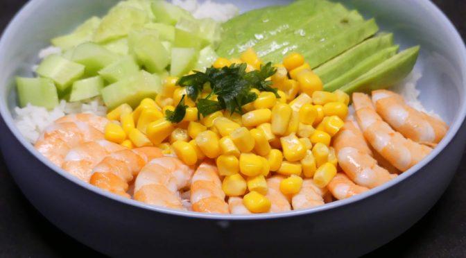 Poke bowl aux crevettes (sans robot)